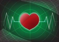 Coração e pulso no fundo verde Fotografia de Stock