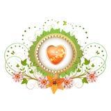 Coração e quadro com flores ilustração stock