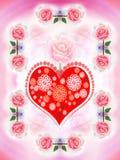 Coração e rosas pintadas do Valentim fotografia de stock