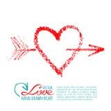 Coração e seta escritos à mão do batom Imagem de Stock