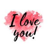 Coração e texto vermelhos da aquarela eu te amo em um fundo branco Foto de Stock Royalty Free
