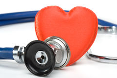 Coração e um estetoscópio Foto de Stock