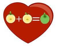 Coração e um meio das maçãs Imagens de Stock Royalty Free