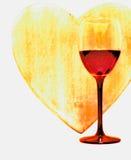 Coração e vinho Imagem de Stock Royalty Free