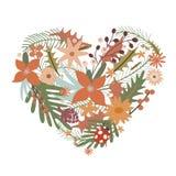 Coração elegante das flores Fotografia de Stock Royalty Free