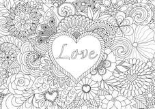 Coração em flores ilustração royalty free