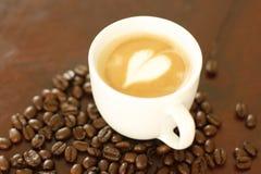 Coração em um café Imagem de Stock