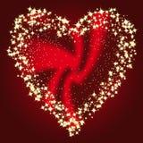 Coração em um frame de estrelas do ouro Fotografia de Stock Royalty Free