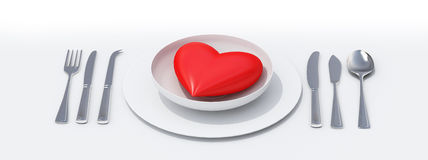 Coração em uma bandeja Fotografia de Stock