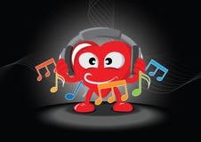 Coração engraçado que escuta a música Imagem de Stock Royalty Free