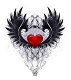 Coração escuro do anjo ilustração stock