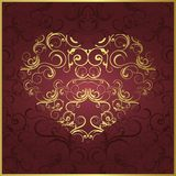 Coração estilizado do ouro Fotos de Stock Royalty Free