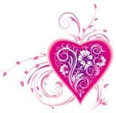 Coração estilizado e ornamento floral Fotos de Stock