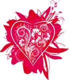 Coração estilizado e ornamento floral Foto de Stock