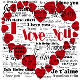 Coração   Eu te amo nas línguas Foto de Stock Royalty Free