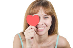 Coração fechado do olho da menina o um Imagens de Stock