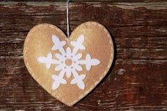 Coração feito à mão de matéria têxtil Foto de Stock Royalty Free