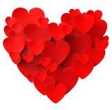 Coração feito com os meios dos corações que datam o amor e ilustração stock