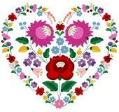 Coração feito com teste padrão húngaro do bordado ilustração do vetor