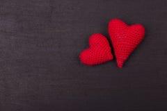 Coração feito crochê das linhas Fotos de Stock