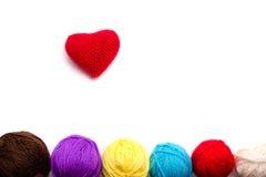 Coração feito crochê das linhas Imagens de Stock