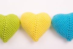 Coração feito crochê das linhas Fotografia de Stock Royalty Free