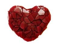 Coração feito da cor vermelha dos estilhaços plásticos isolada no fundo branco 3d Ilustração Stock