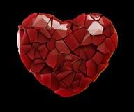 Coração feito da cor vermelha dos estilhaços plásticos isolada no fundo preto 3d Fotos de Stock Royalty Free