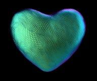 Coração feito da textura natural da pele de serpente verde isolada no preto 3d Ilustração Royalty Free