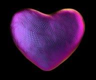 Coração feito da textura roxa natural da pele de serpente isolada no preto 3d ilustração stock