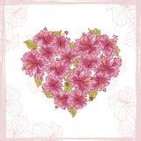 Coração feito das flores do hibiscus Fotografia de Stock