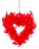 Coração feito das penas vermelhas Foto de Stock Royalty Free