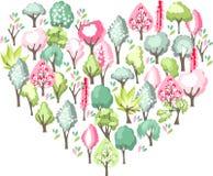 Coração feito de árvores de florescência da mola Imagens de Stock