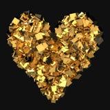 Coração feito de cubos dourados ilustração royalty free