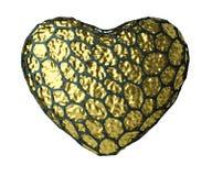 Coração feito de 3D metálico de brilho dourado com a gaiola preta isolada no branco Fotografia de Stock Royalty Free