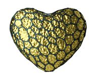 Coração feito de 3D metálico de brilho dourado com a gaiola preta isolada no branco Imagem de Stock