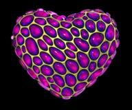 Coração feito de 3D metálico de brilho dourado com o vidro cor-de-rosa isolado no fundo preto ilustração royalty free