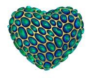 Coração feito de 3D metálico de brilho dourado com o vidro verde isolado no fundo branco ilustração do vetor