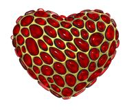 Coração feito de 3D metálico de brilho dourado com o vidro vermelho isolado no fundo branco ilustração do vetor