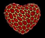 Coração feito de 3D metálico de brilho dourado com o vidro vermelho isolado no fundo preto ilustração do vetor