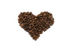 Coração feito de feijões de café roasted Imagem de Stock Royalty Free