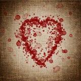 Coração feito de gotas do sangue Fotografia de Stock Royalty Free