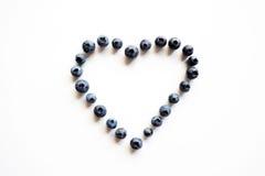 Coração feito de mirtilos orgânicos Fotos de Stock Royalty Free