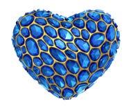 Coração feito do diamante azul isolado no fundo branco 3d Fotos de Stock