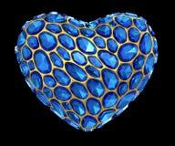 Coração feito do diamante azul isolado no fundo preto 3d Foto de Stock