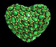 Coração feito do diamante verde isolado no fundo preto 3d Ilustração Stock