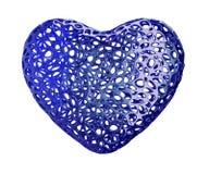 Coração feito do plástico azul com os furos abstratos isolados no fundo branco 3d Ilustração do Vetor