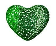 Coração feito do plástico verde com os furos abstratos isolados no fundo branco 3d ilustração royalty free