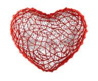 Coração feito do plástico vermelho com os furos abstratos isolados no fundo branco 3d ilustração stock