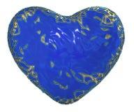 Coração feito em 3D metálico de brilho dourado com a pintura azul isolada no fundo branco ilustração royalty free